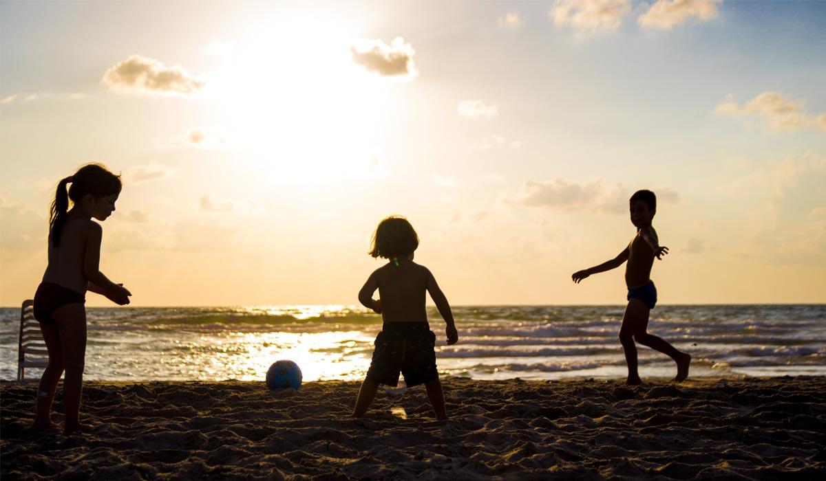 Children playing in beach